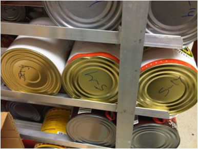 Examples of Violations during NYC Restaurant Health Inspections: Damaged cans in the product stream