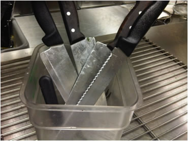 Examples of Violations during NYC Restaurant Health Inspections: Improper utensil storage
